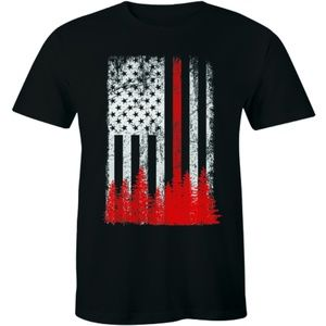 American Flag Thin Red Line T-Shirt Firefighter